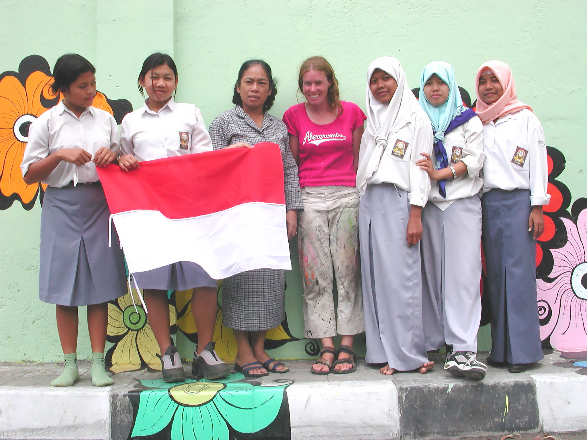 Megan -- with women and Indonesian flag.jpg