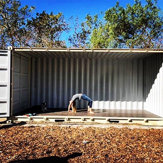 Flashback Friday to yoga in an empty 20 ft. container. A perfect deployable yoga studio I gotta say.  @xanabu  #flashbackfriday #becauseitwasthere #malibu  #yogaandadog  #yoga  #backbends  #californingmorning #nature #werk