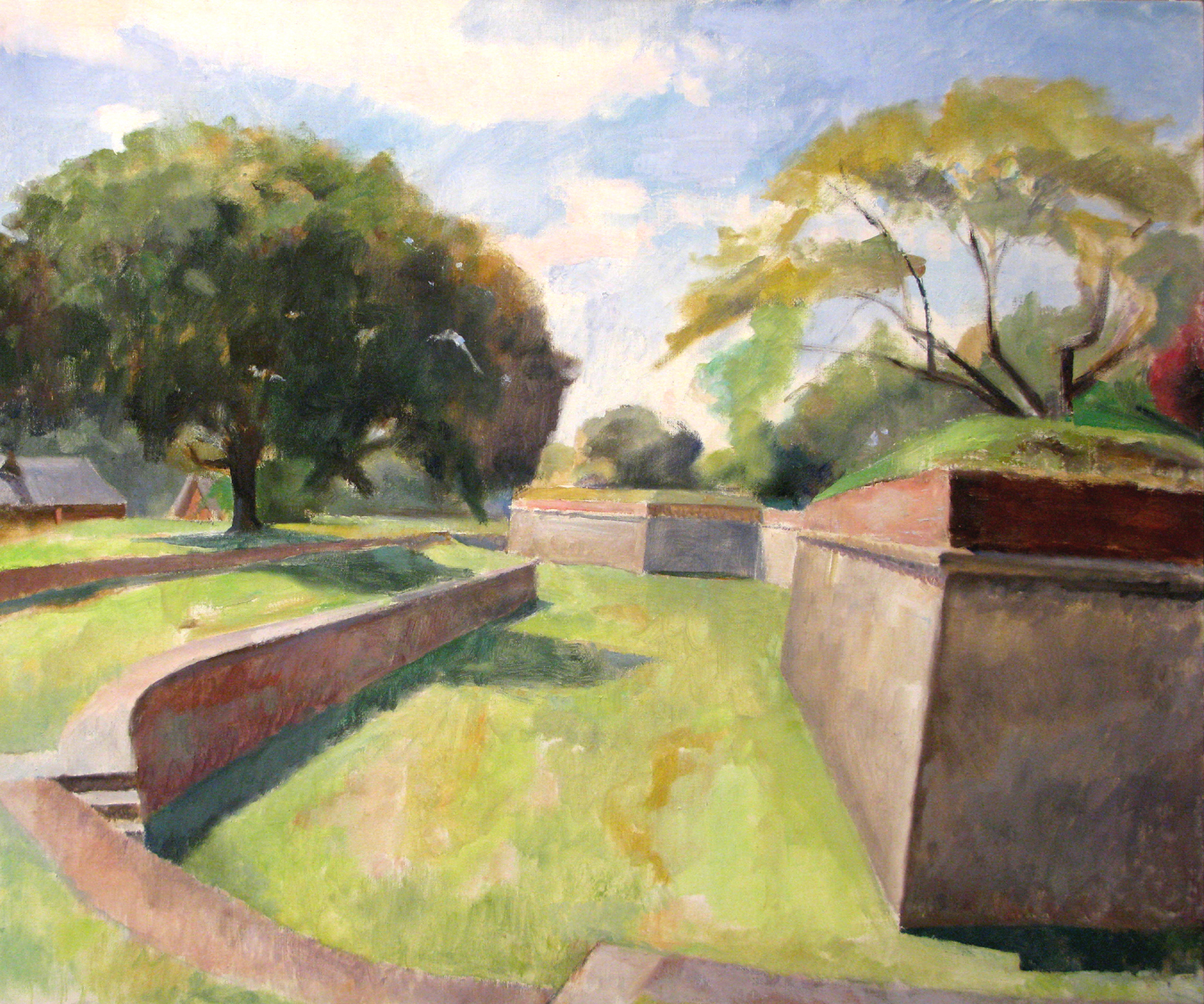 "Dry Moat, Fort Jay, Governor's Island, 36"" x 44"", oil on linen"