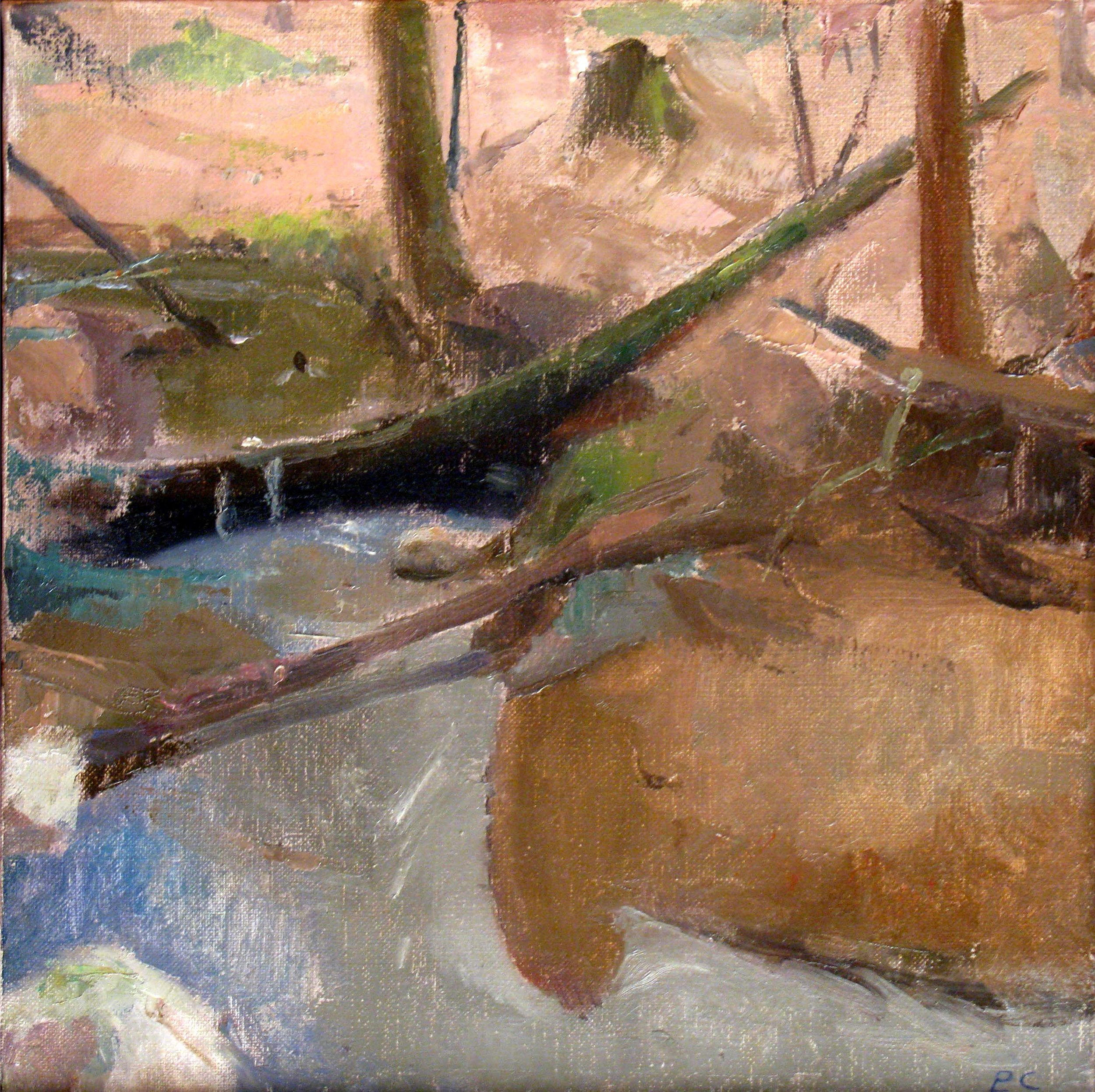 "Fallen Trees in a Stream, 12"" x 12"", oil on linen"