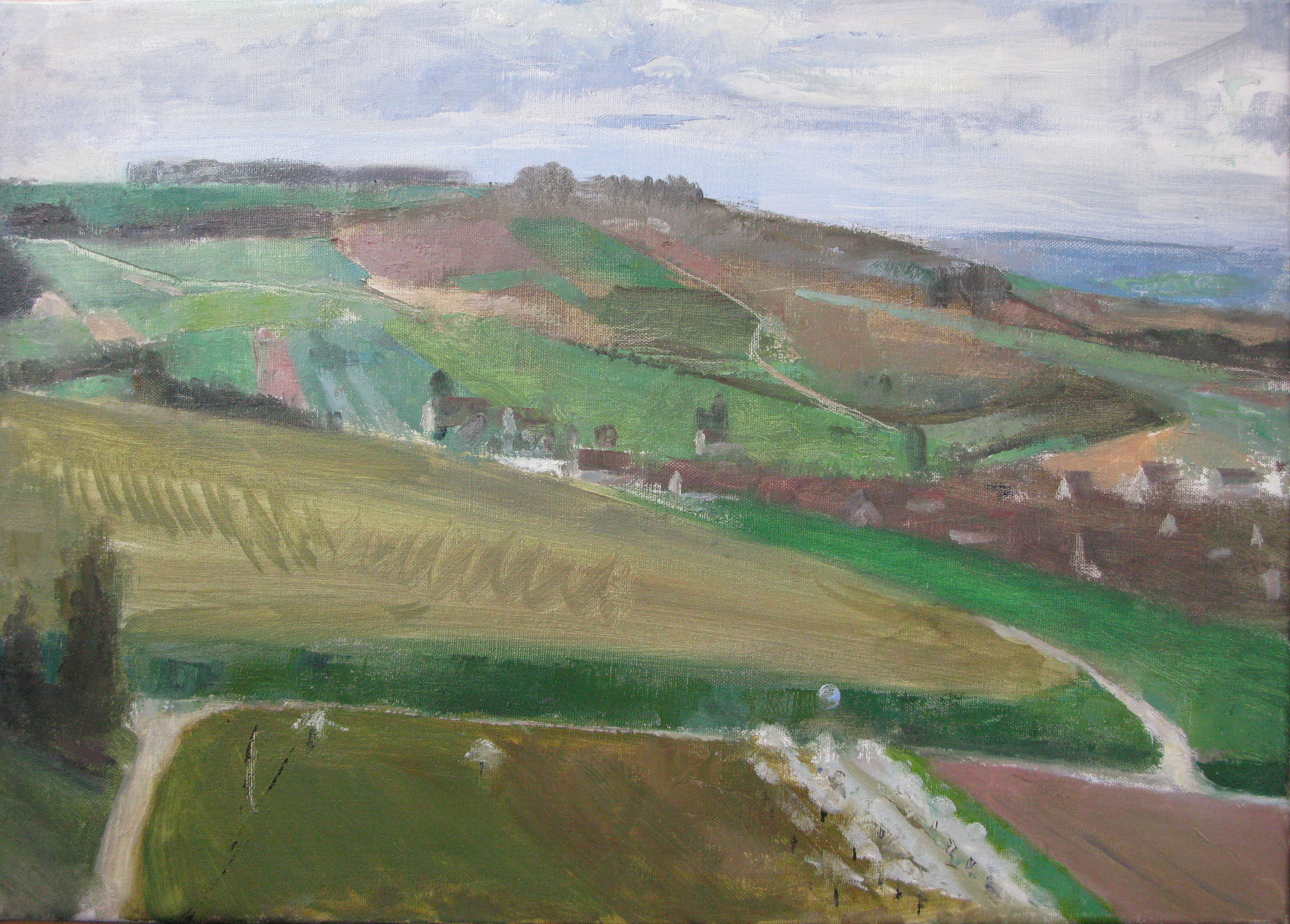 "Irancy and Surrounding Hills, 17"" x 24"", oil on linen"