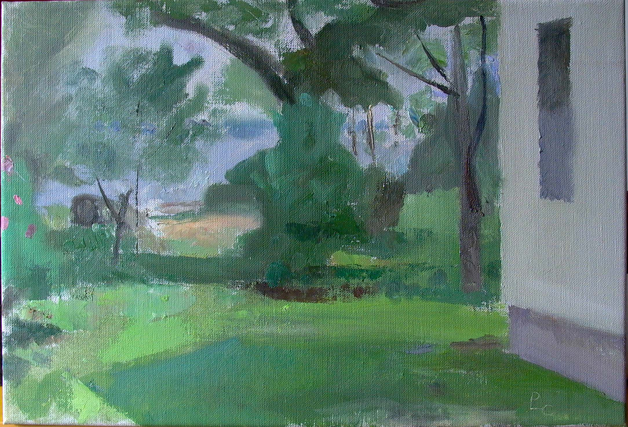 "Side Yard, Thomasville, 12"" x 18"", oil on linen"