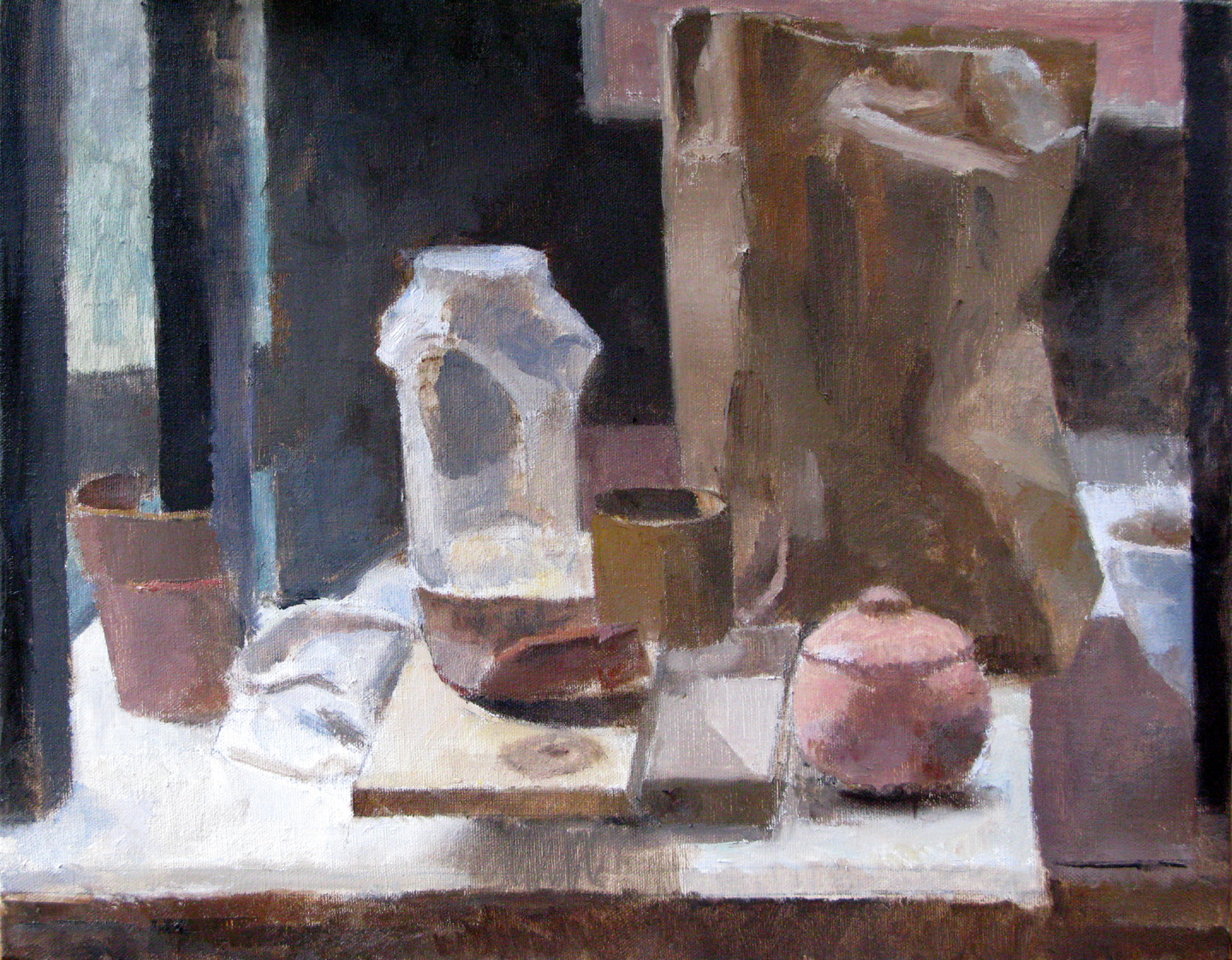 "Plant Pot Fragments and Paper Bag, 16"" x 20"", oil on linen"