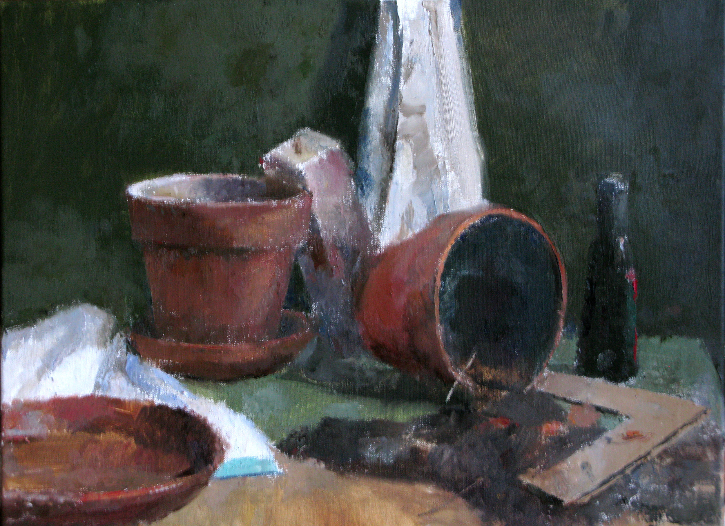 "Plant Pots, Soil and Vinegar Bottle, 17"" x 24"", oil on linen"