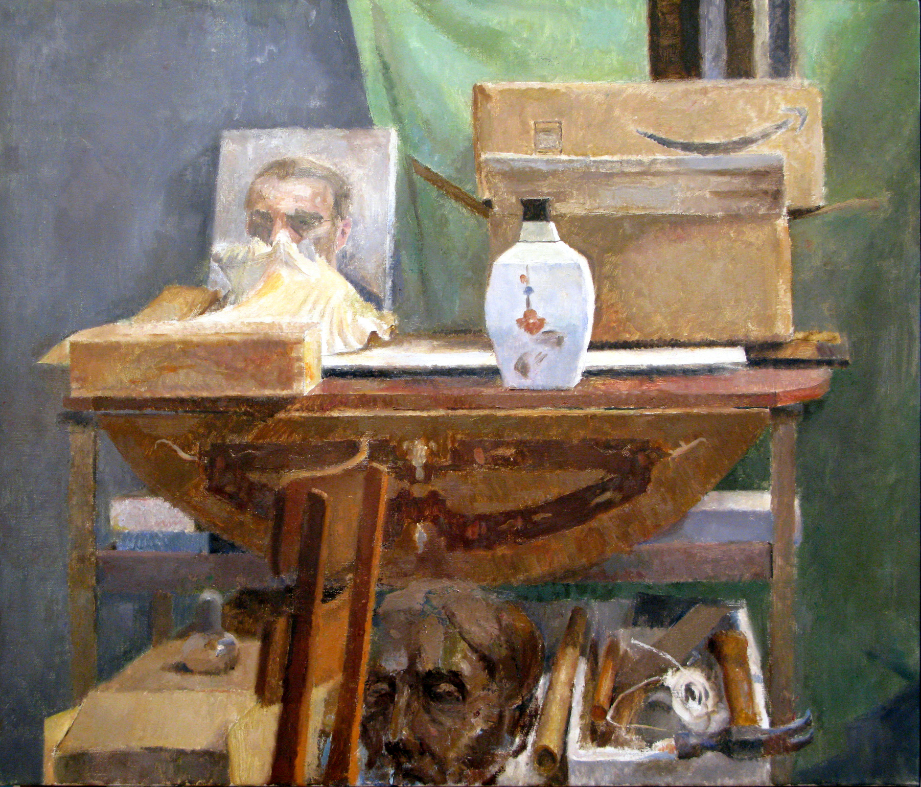 "Still life with Boxes, Vase and Shell, 31"" x 36"", oil on linen"