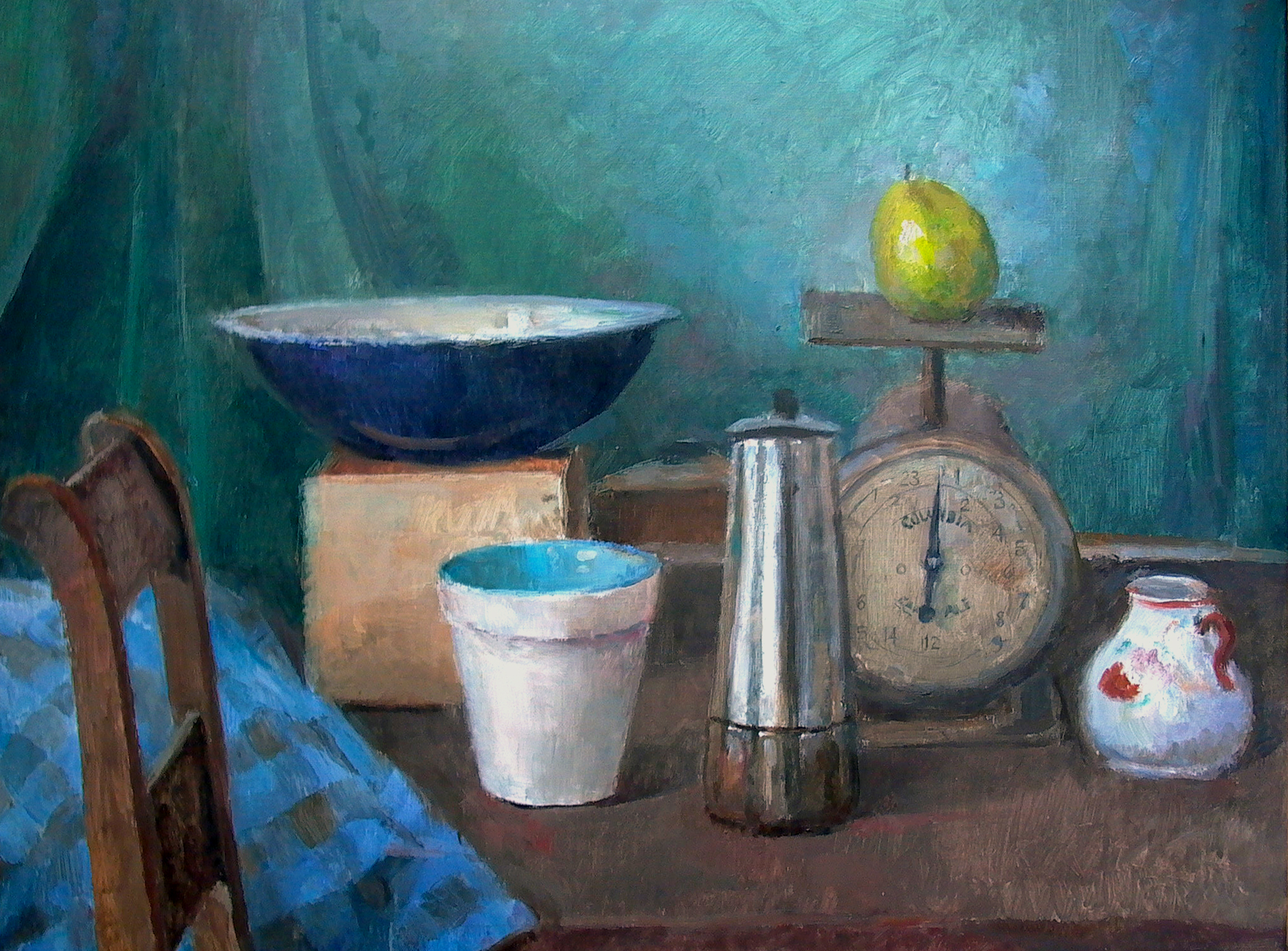 "Still Life with Pear, 19"" x 26"", oil on linen"