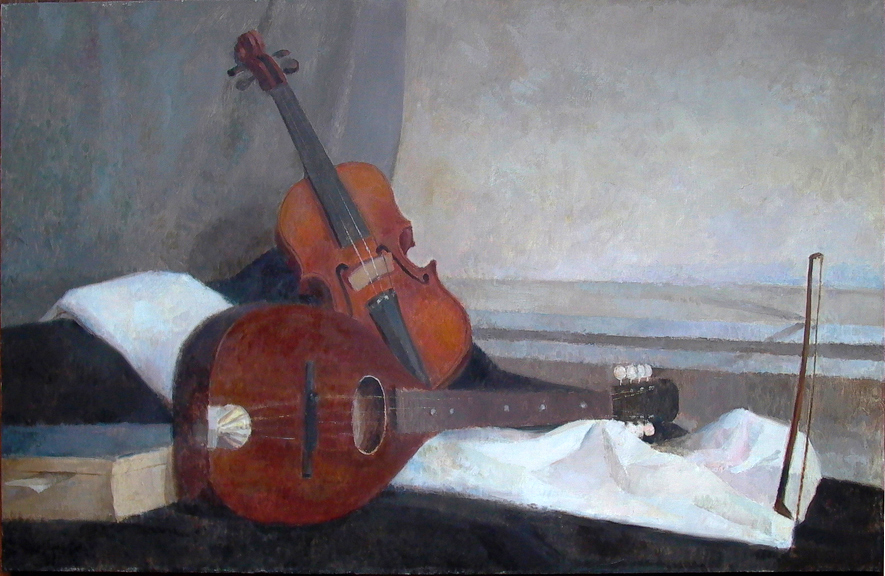 "Violin Mandolin, 24"" x 38"", oil on linen"