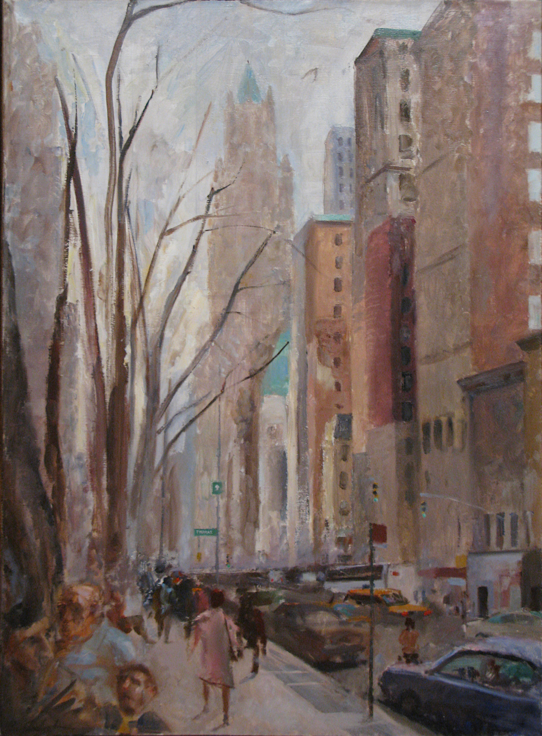 "Broadway Thomas St, 42"" x 30"", oil on linen"