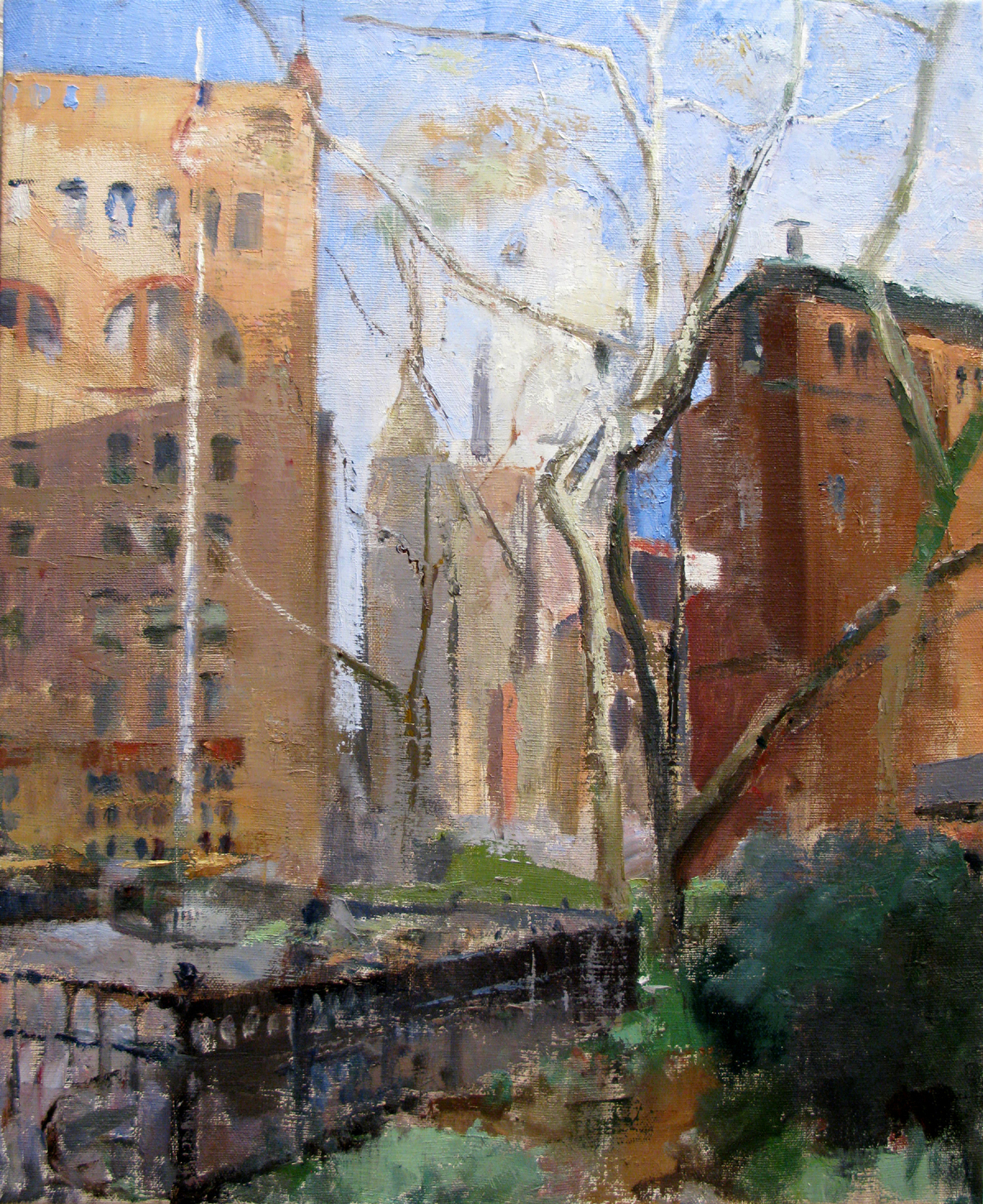 "Duane Park, 21"" x 17"", oil on linen"