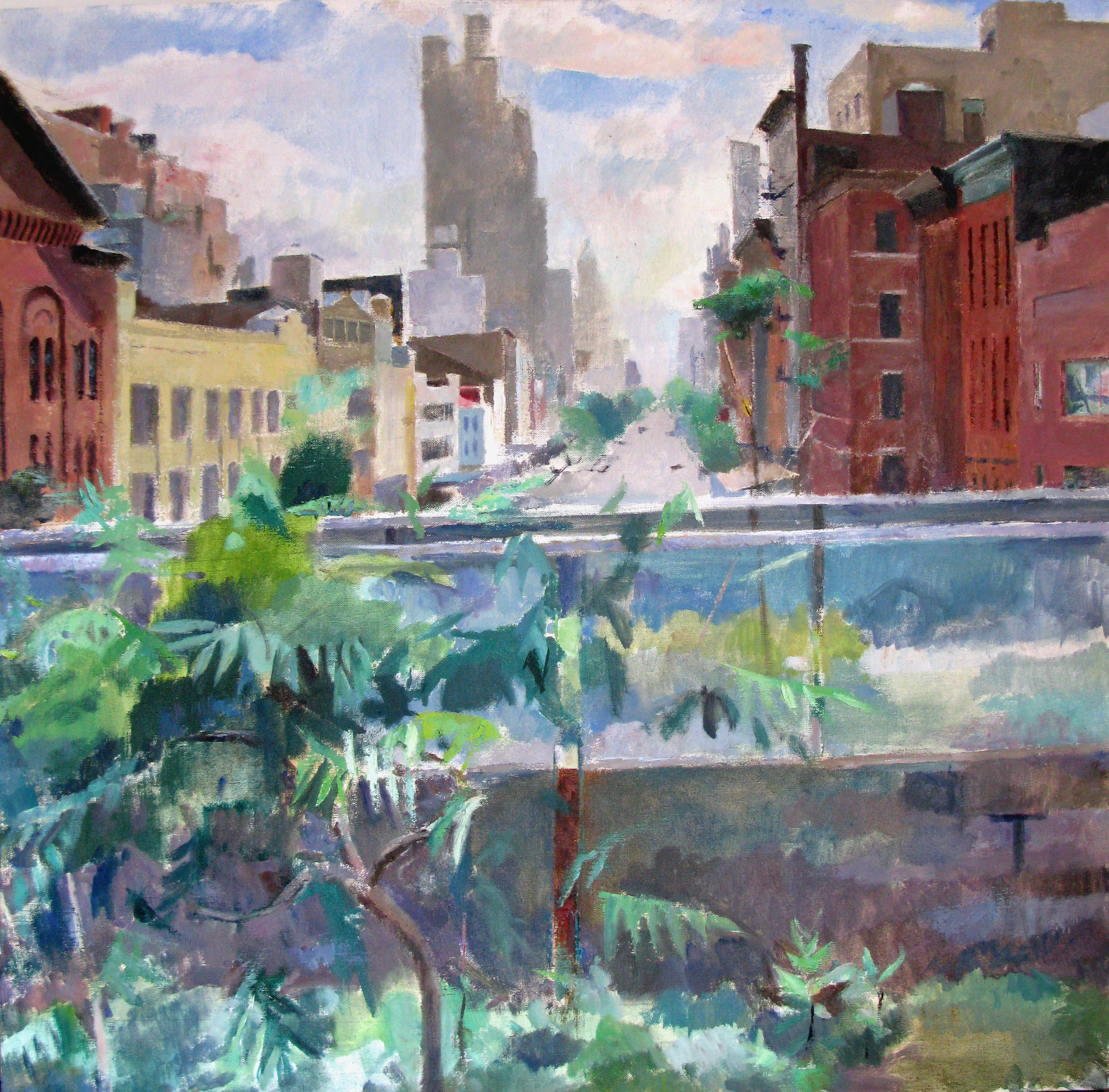 "High Line Stairwell at 14th St, looking West, 36"" x 36"", oil on linen"