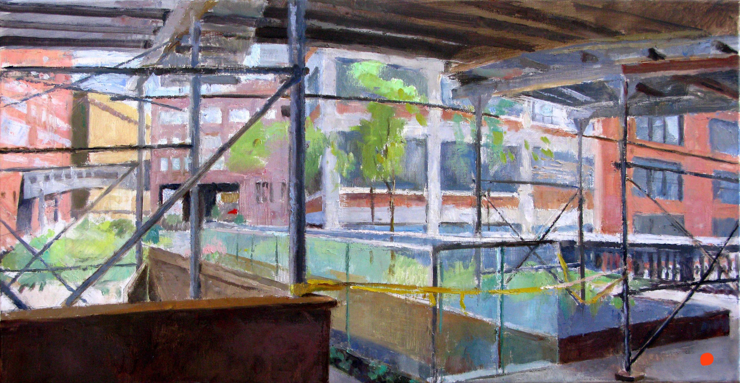 "Phillips de Pury on the Highline, 16"" x 32"", oil on linen"