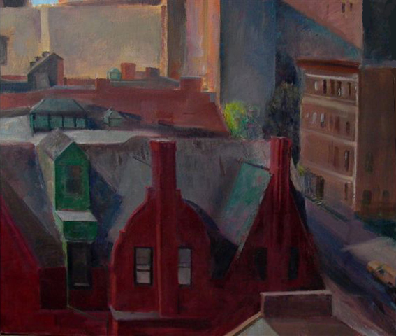 "Red House, Clinton Hill, 36"" x 36"", oil on canvas"