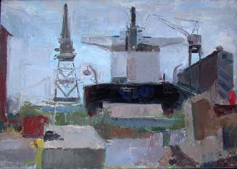 "SF Shipyard, 12"" x 17"", oil on linen"