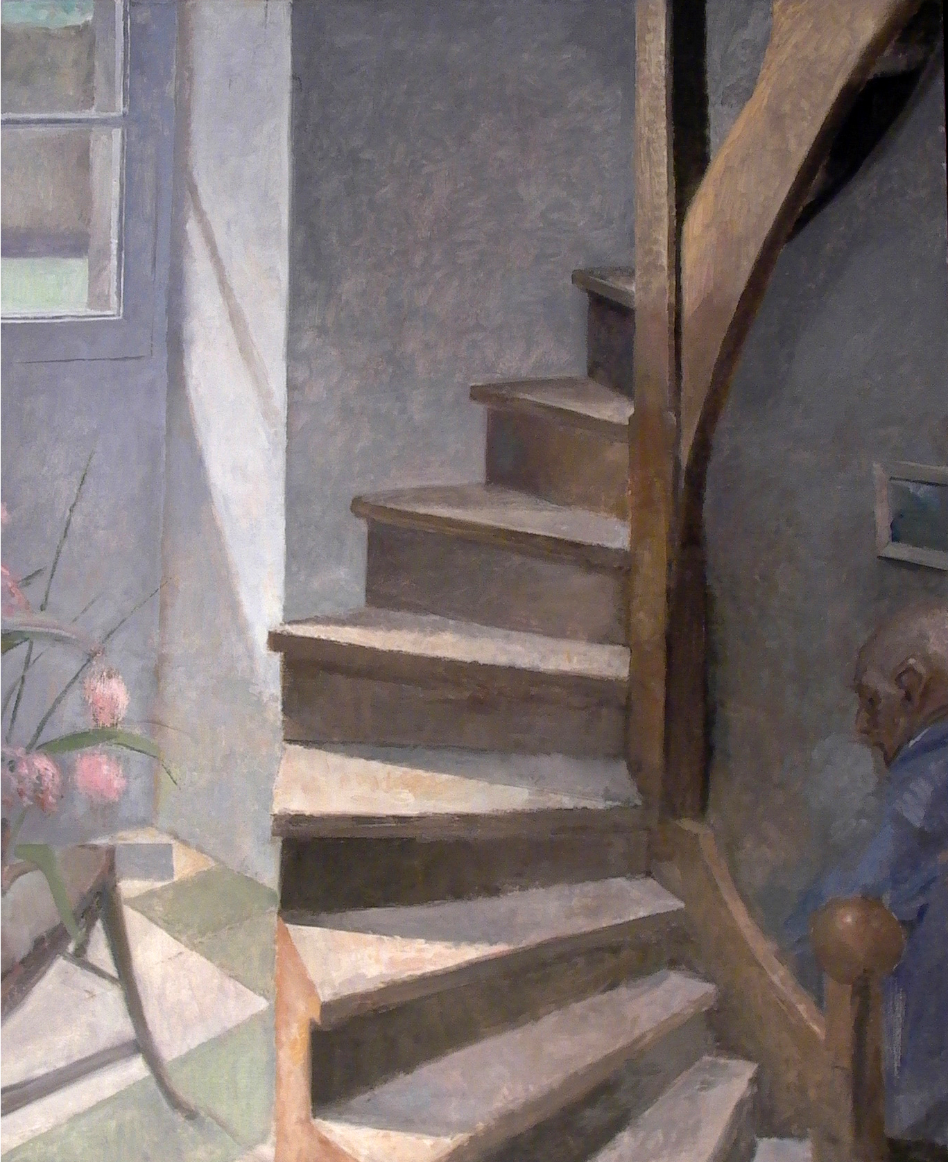 "Spiral Stairs, 41"" x 34"", oil on linen"