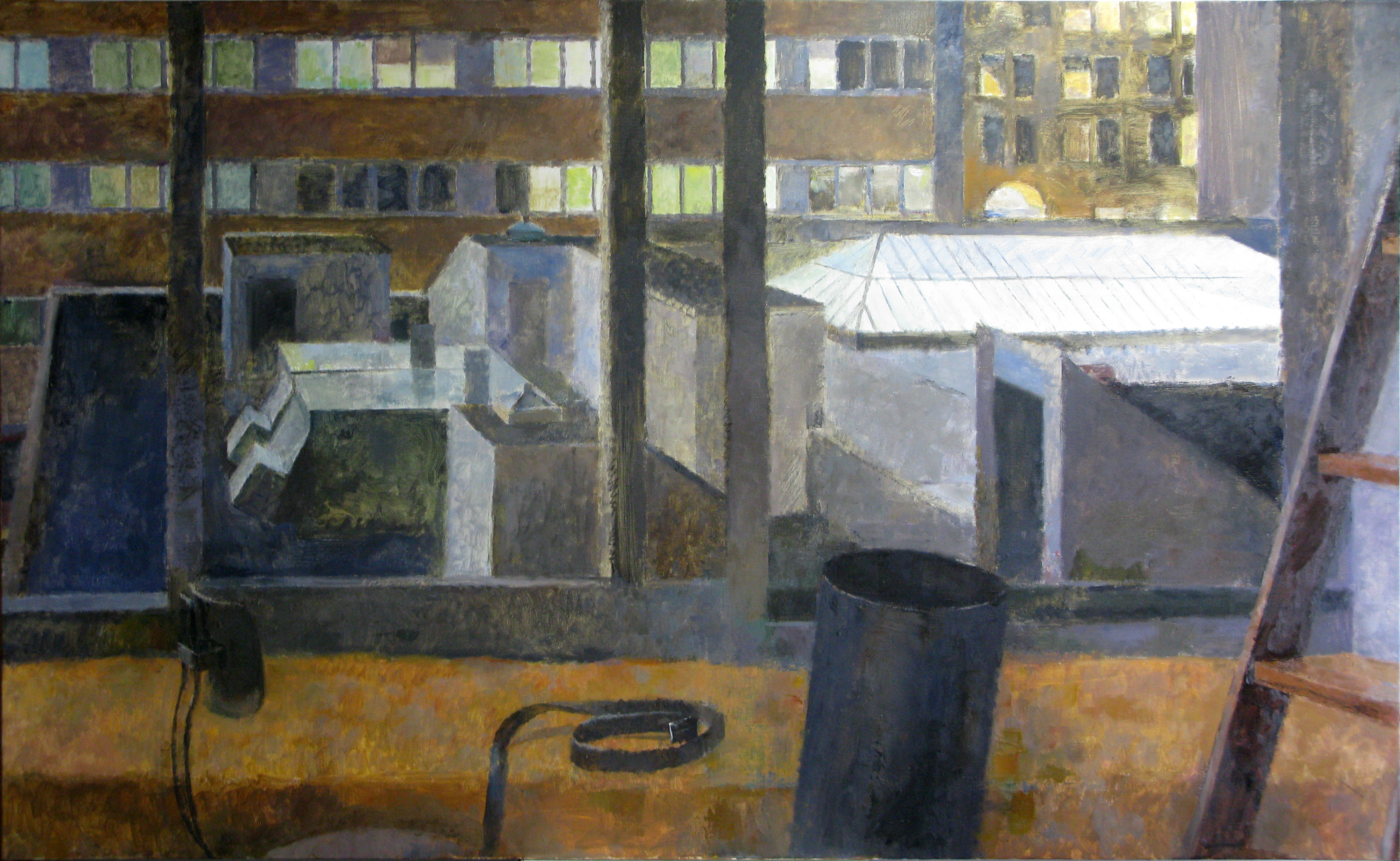 "Studio at Night, 40"" x 66"", oil on linen"