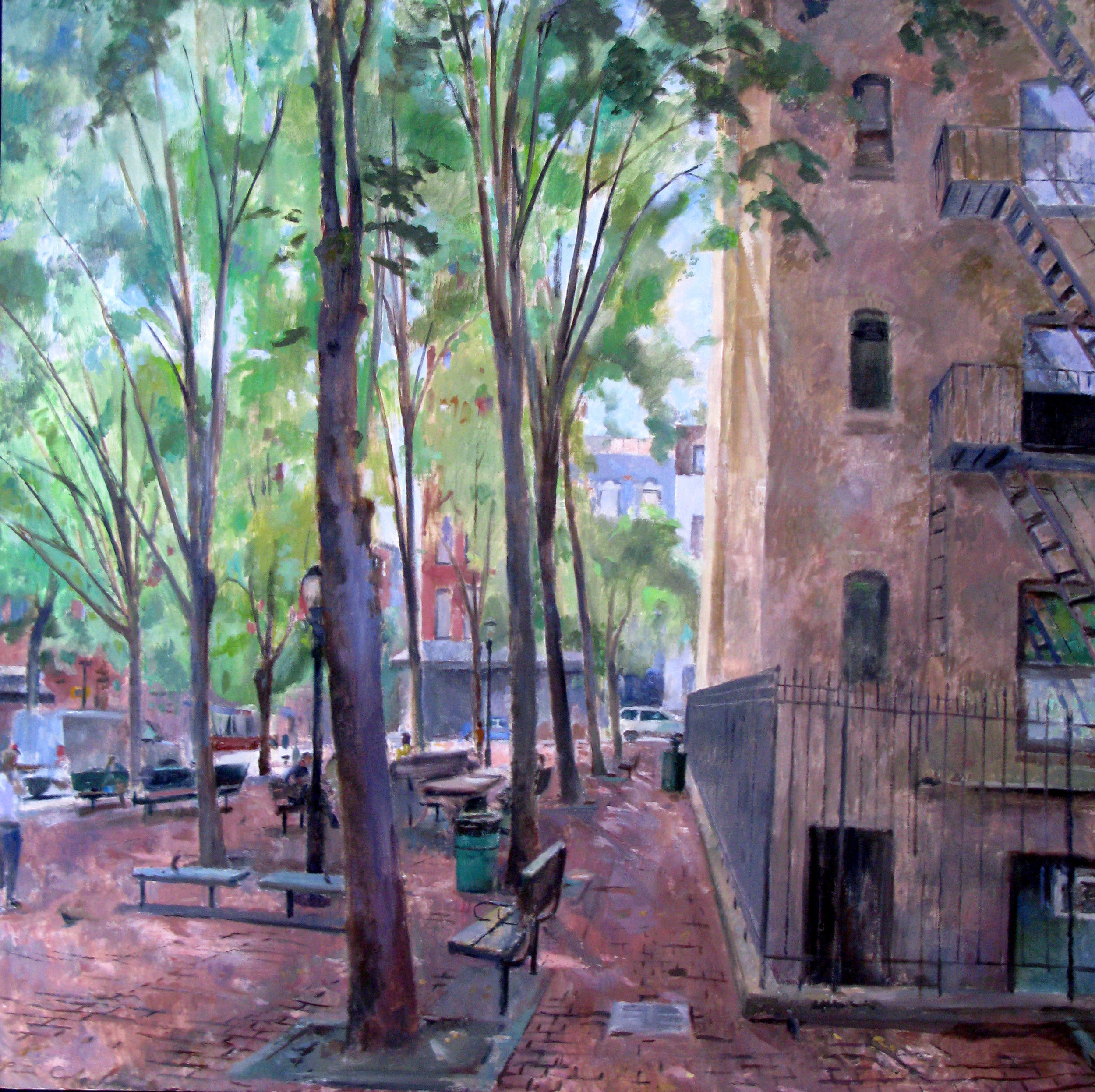 Bleecker Park, 54 x 54 inches, oil on linen