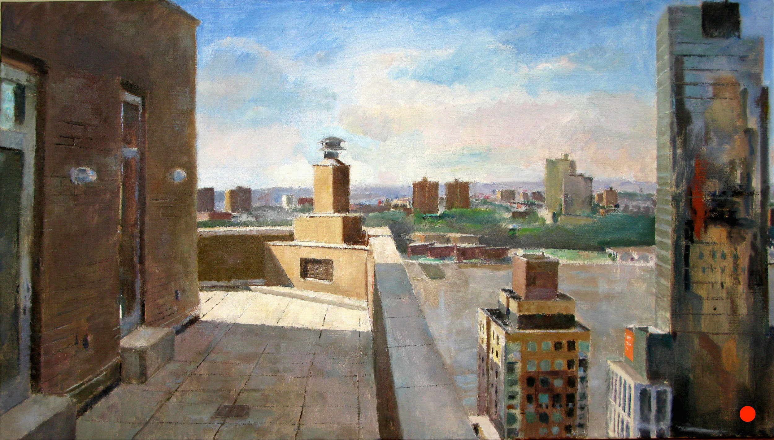 Deck, West 60th Street, 24 x 43 inches, oil on linen