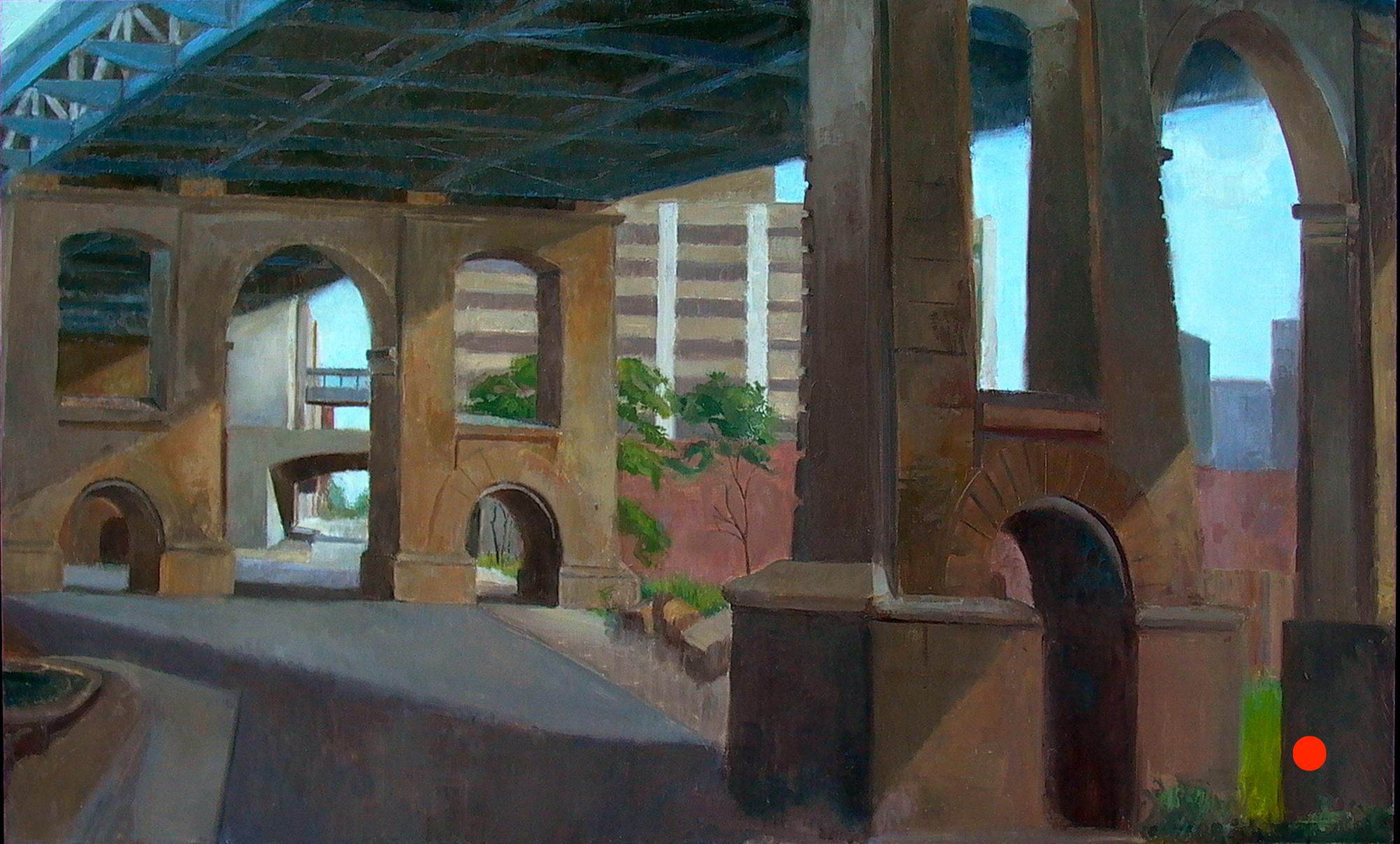 Under the Manhattan Bridge, 30 x 48 inches, oil on linen