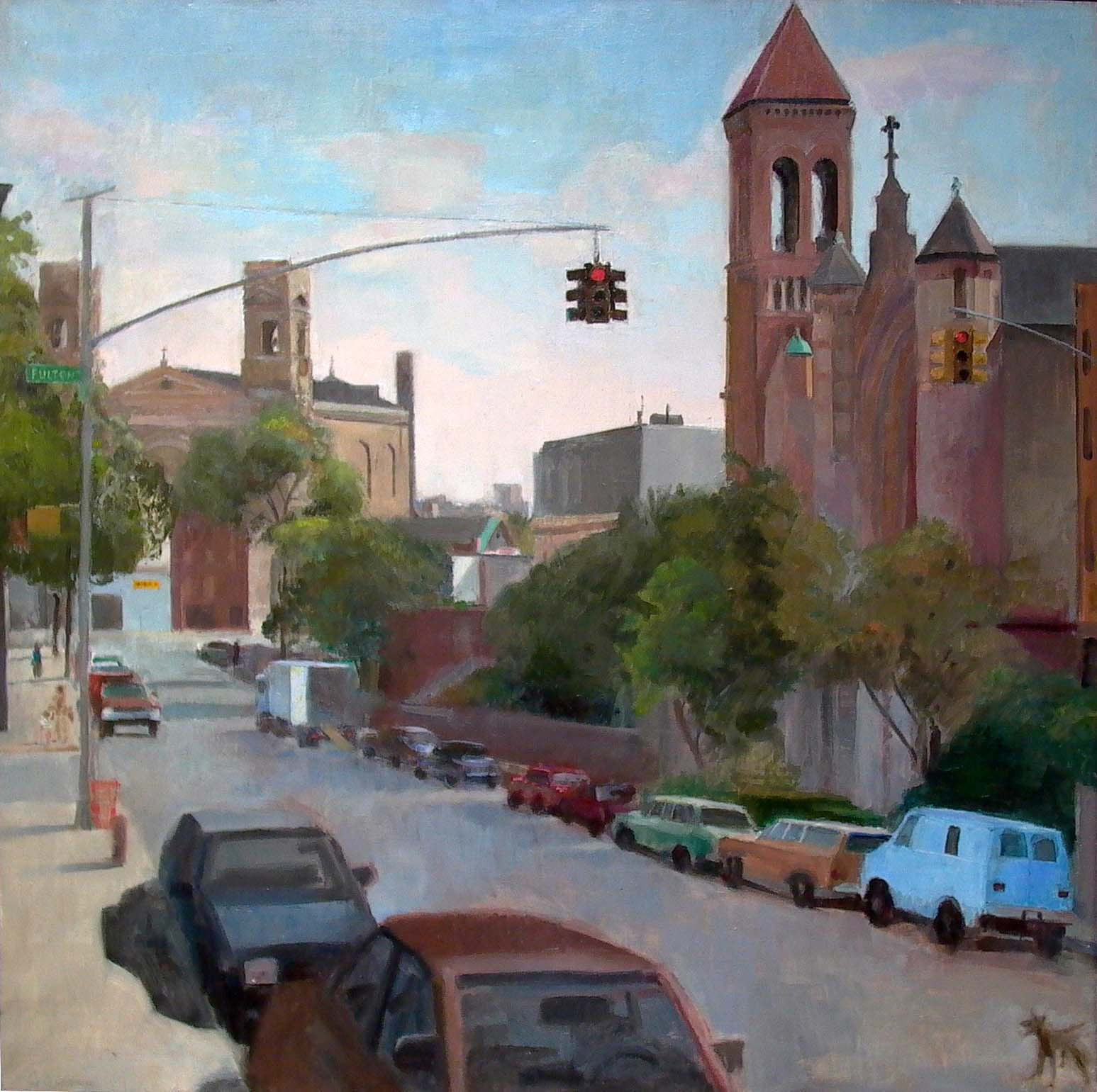 Fulton & Clinton Streets, oil on linen, 37 x 37 inches