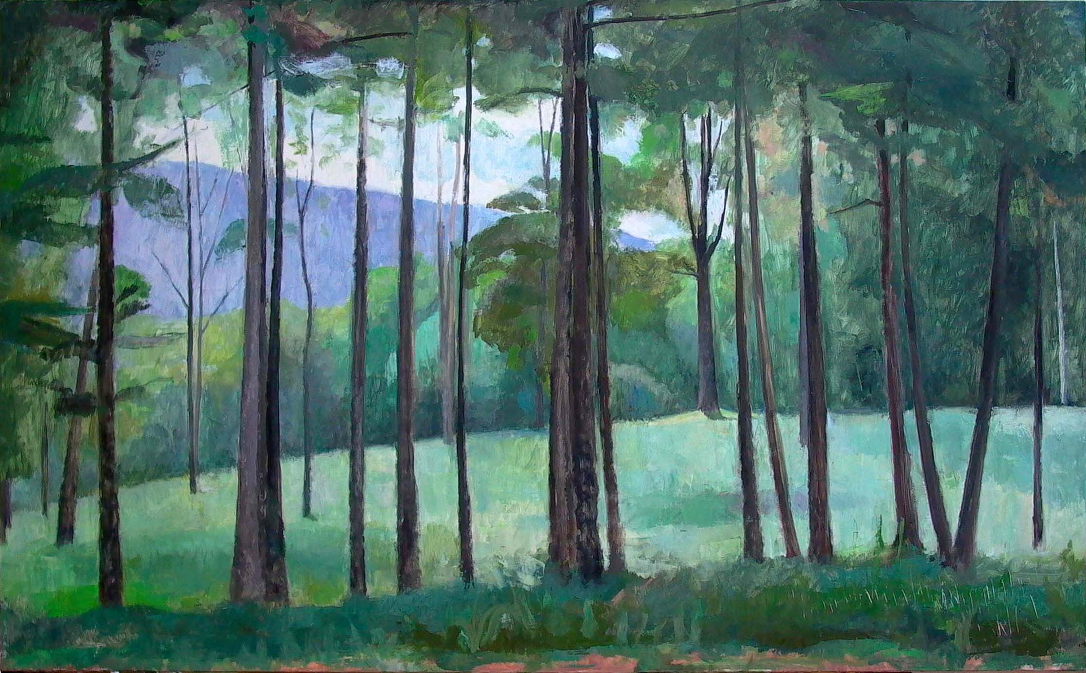 Row of Trees, Tyringham, oil on linen, 36 x 60 inches