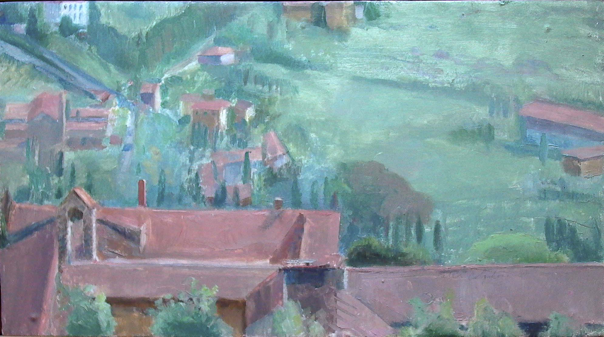 Fiesole, oil on panel, 12 x 20 inches