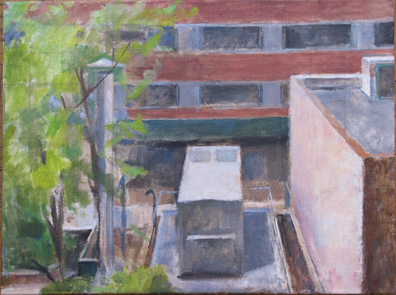 Trimble Lane Back Up Generator, 21 x 28 inches, oil on linen