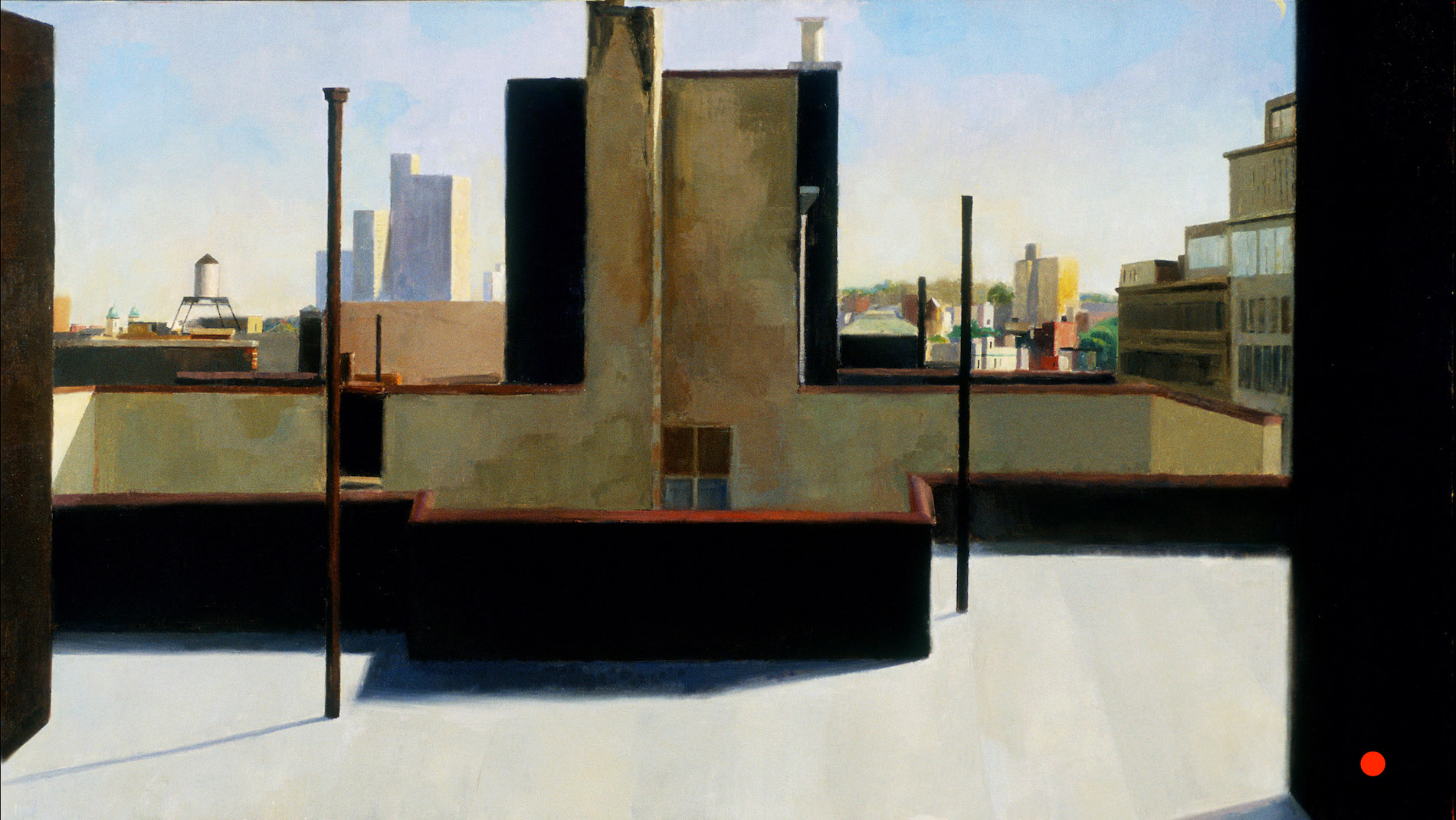 Roof, Clinton Hill, 32 x 60 inches, oil on linen