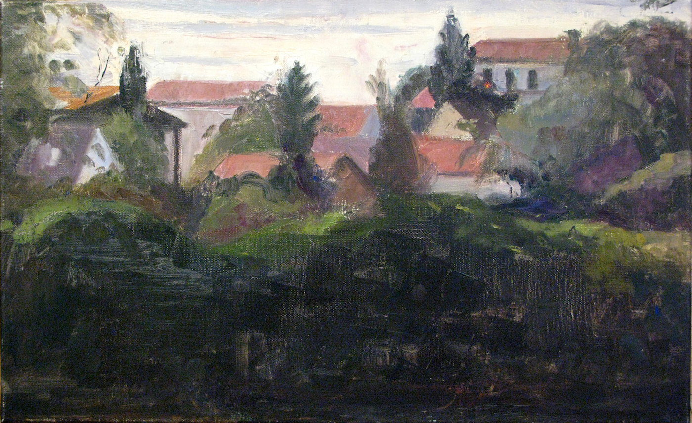 Maisons Lafitte, Dusk, 14 x 23 inches, oil on linen