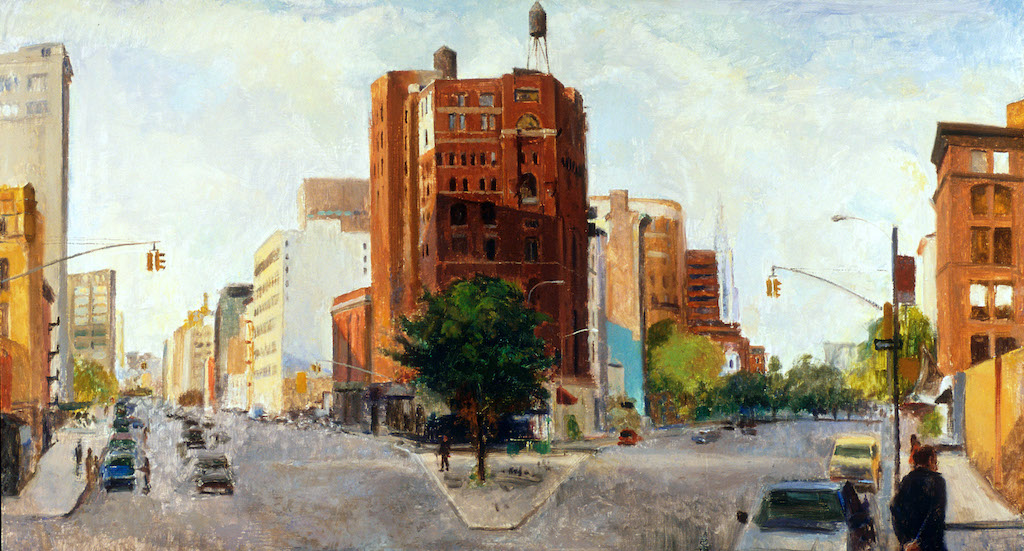 Lower West Broadway, 24 x 45 inches, oil on panel
