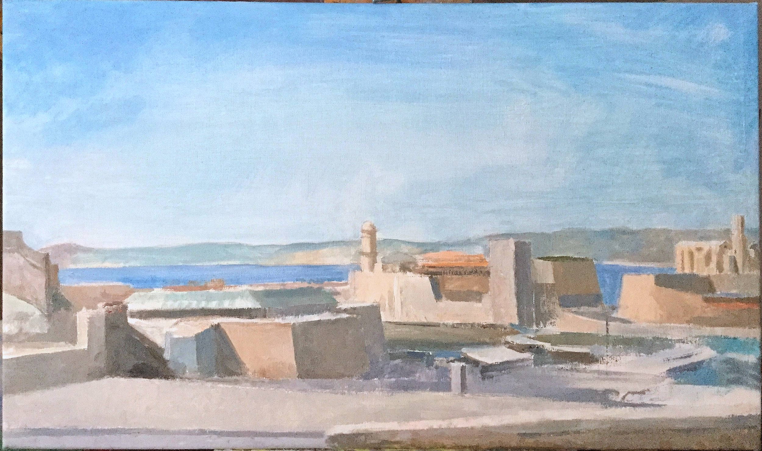 Marseille, Vieux Port and Harbor, 17 x 29 inches, oil on linen