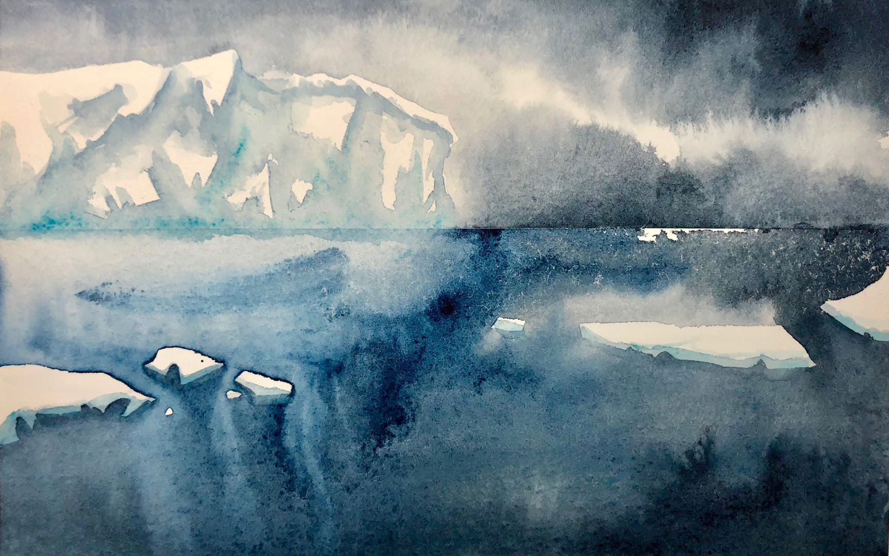 Ice Shelf, watercolor                                                                      Copyright © Marlo Garnsworthy