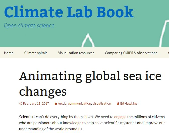Animating global sea ice changes - By Ed Hawkins, CLIMATE LAB BOOK, Feb. 11, 2017Interview with Kevin