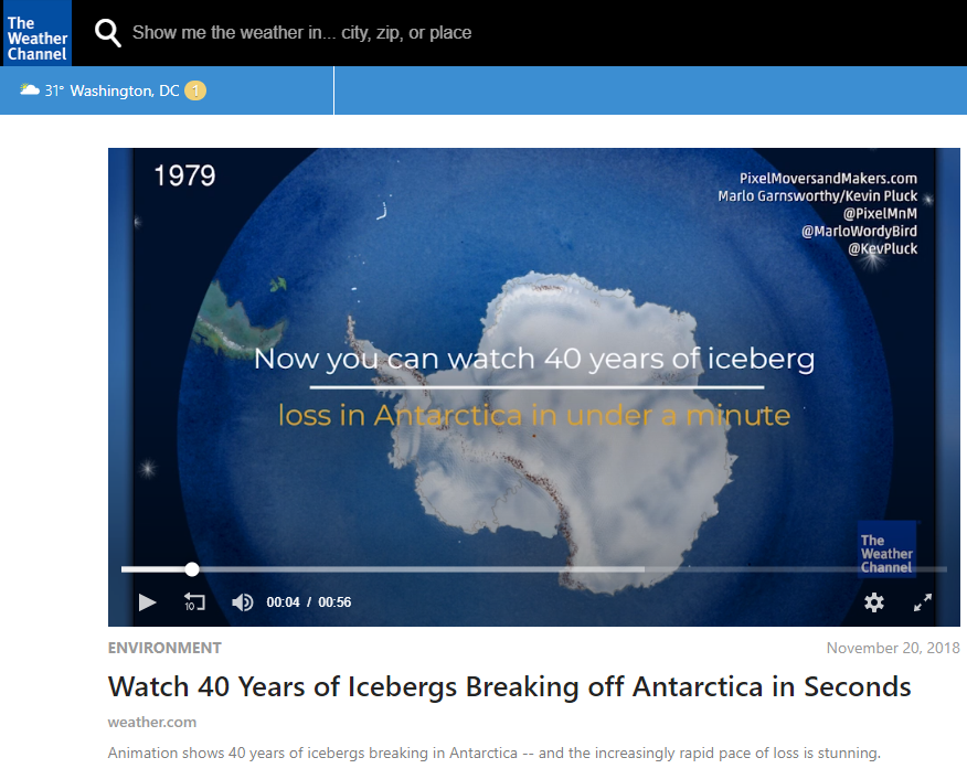 Watch 40 Years of Icebergs Breaking off Antarctica in Seconds - WEATHER CHANNEL, November 20, 2018Our Icebergs Alive animation specially formatted for the Weather Channel