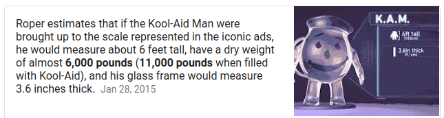 11000 pounds - 6000 pounds of glass = 5000 pounds of kool-aid  1 gallon of water weighs 8.35lbs  5000 / 8.35 = ~600 gallons of water = 600 days