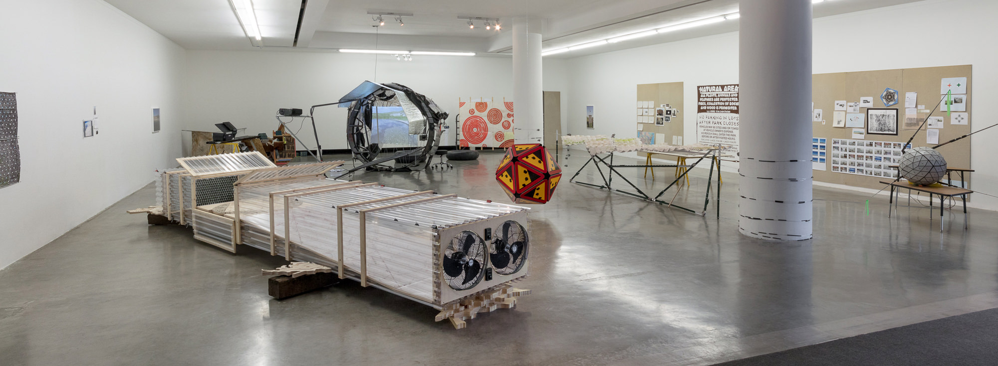 Installation view with Huerfano Proposal (Section 16, T 26 S/R 66 W), 2018. Photo: Brica Wilcox