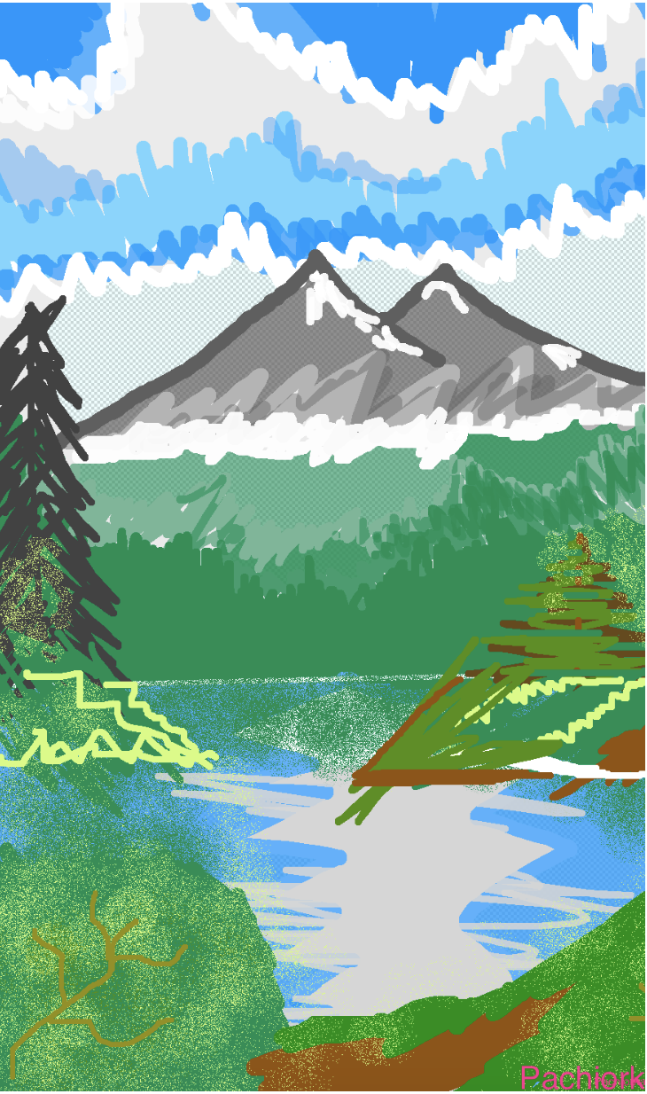 """Bob Ross Discovers What is Just Around the River-bend"" - Zara Pachiorka"