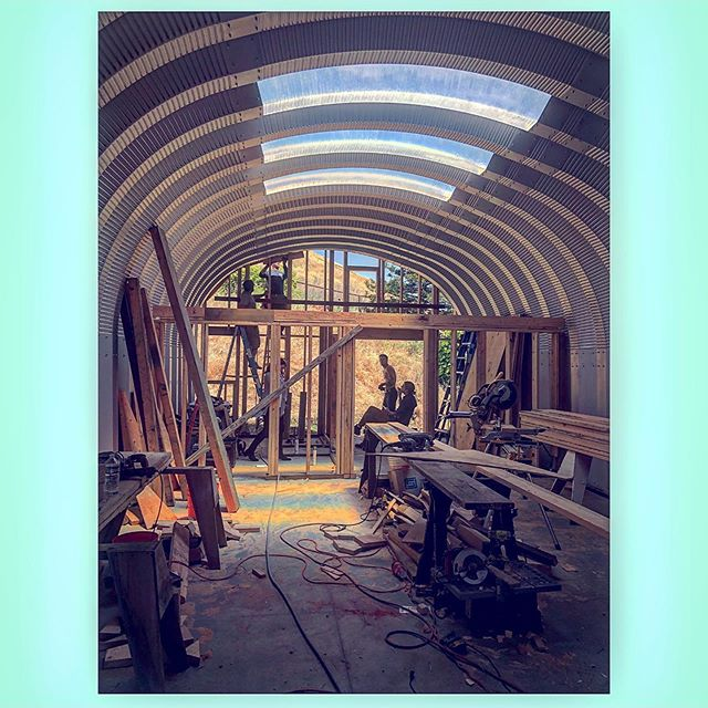 Visiting hubby on the job today ☺️ One of my agents building his new home- A loft in his cool quonset hut for him and his beautiful daughter 🌸✨Can't wait to see the final product!!