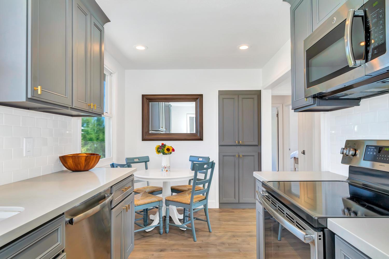 Enjoy this modern kitchen with incredible backyards views.