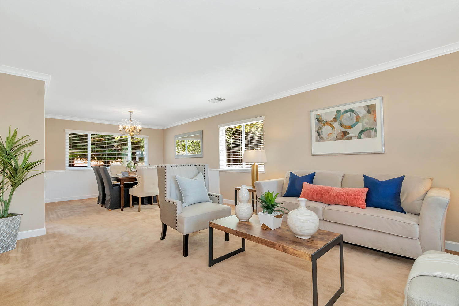 The sunken living room & dining room offer a quiet space to relax.