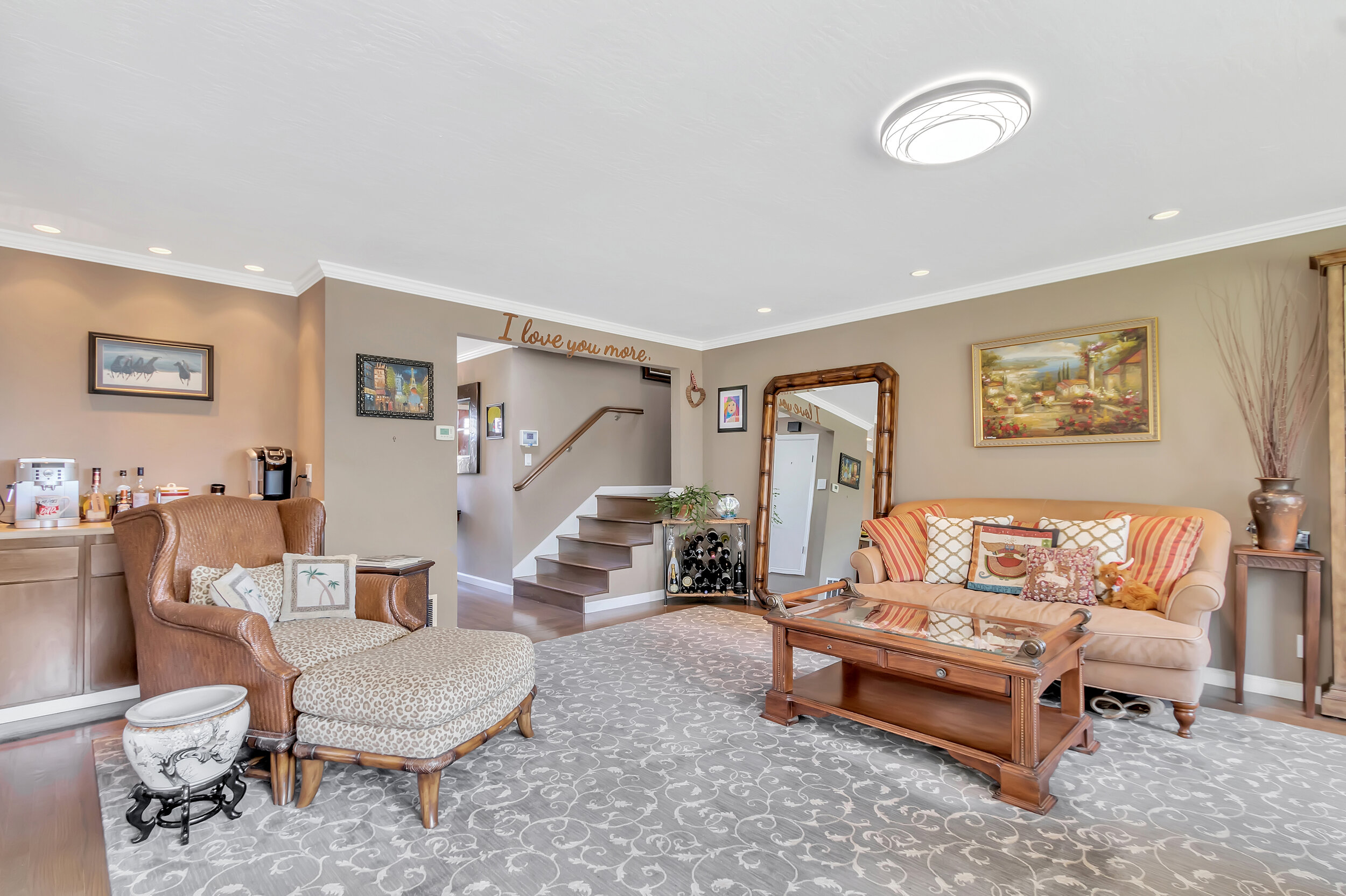 Family room features a built-in wet bar, perfect for entertaining!