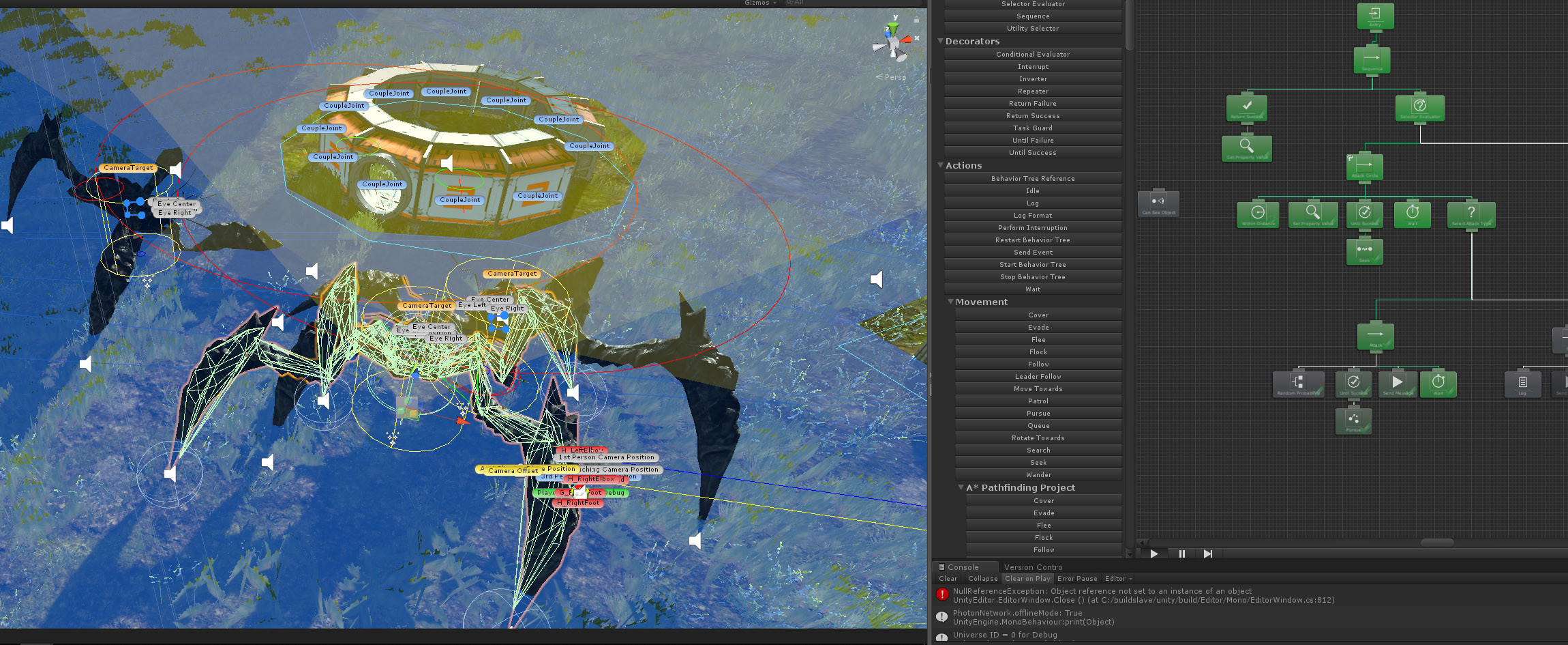 Added 3/2/19  - Crab Monsters teaming up on a HAB, using a Nav Mesh and AI Behavior Trees.