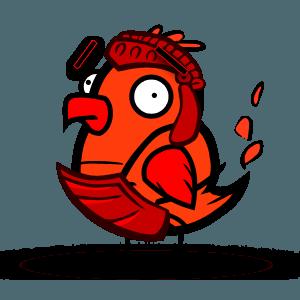 "Fire Chicken says, ""Hello!"" -"
