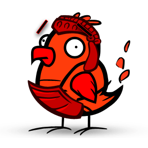 "Fire Chicken says, ""let's talk shop!"" -"