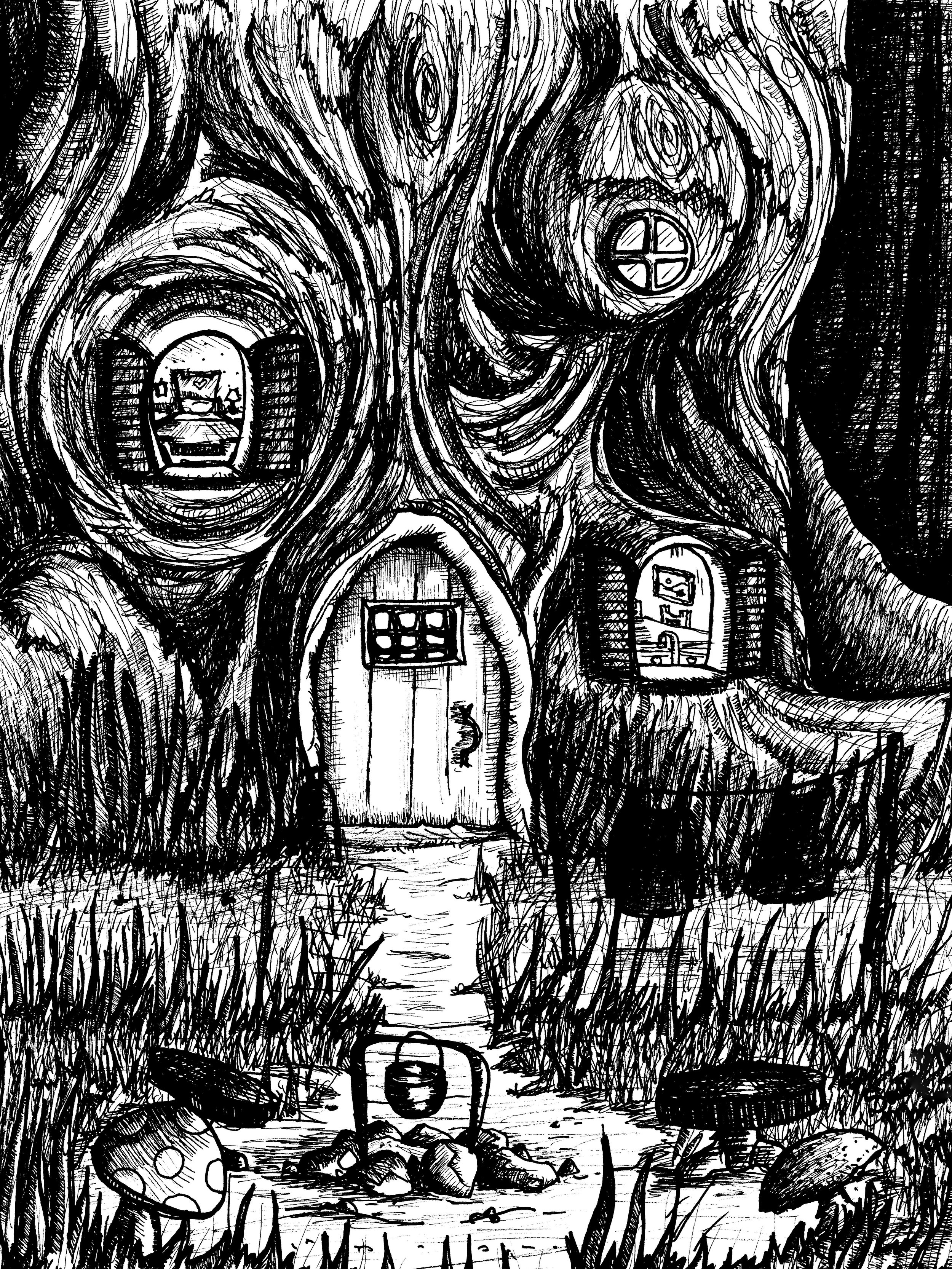 Edited Gnome Tree Home_Black and White Scan.jpg