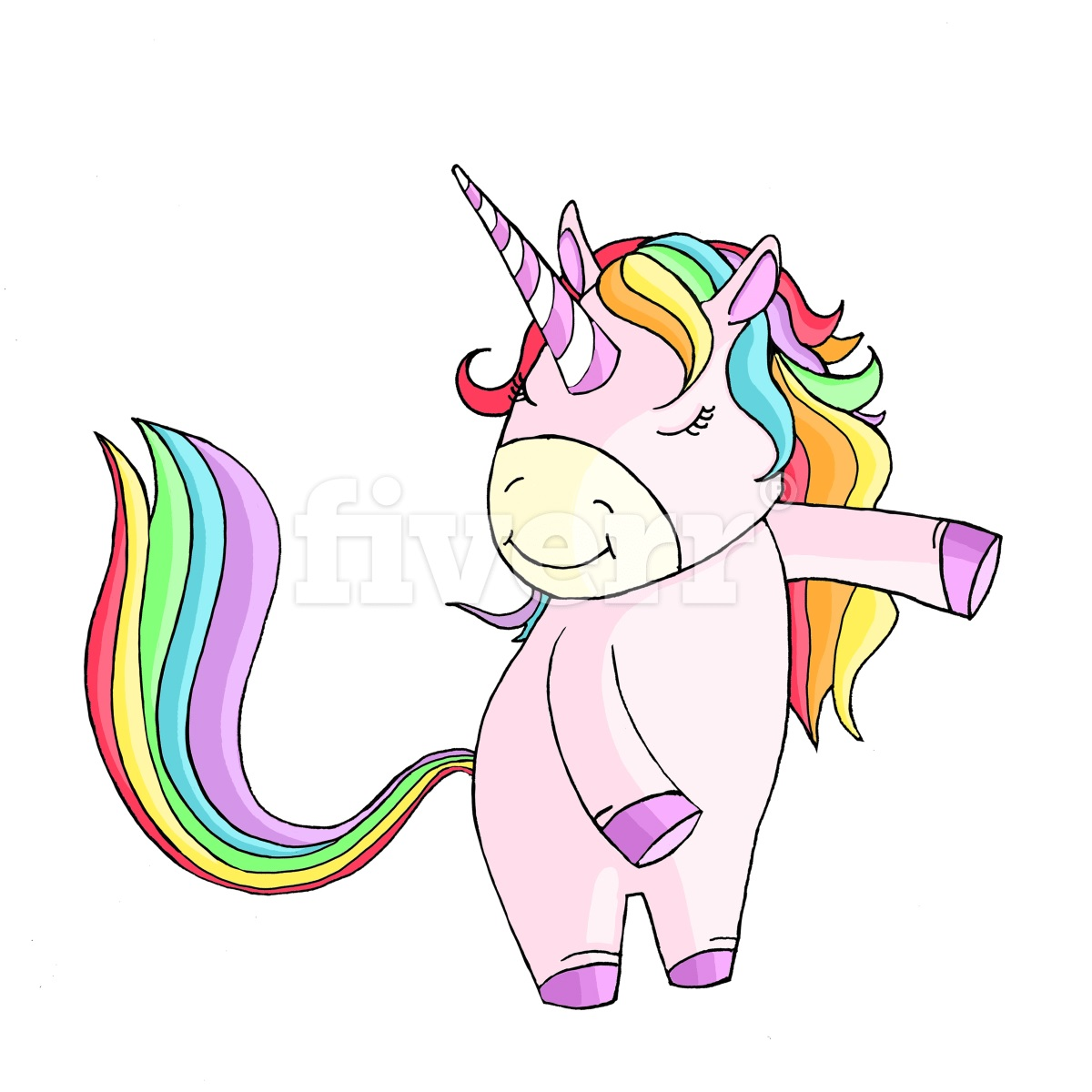 Unicorn Illustration done for a client on Fiverr: Illustrated in Photoshop