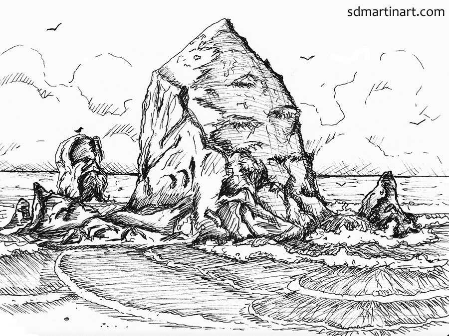 SCBWI_Hay Stack Rock Cannon Beach OR_Pen sketch_Edited Color Scan_LR with WM.jpg