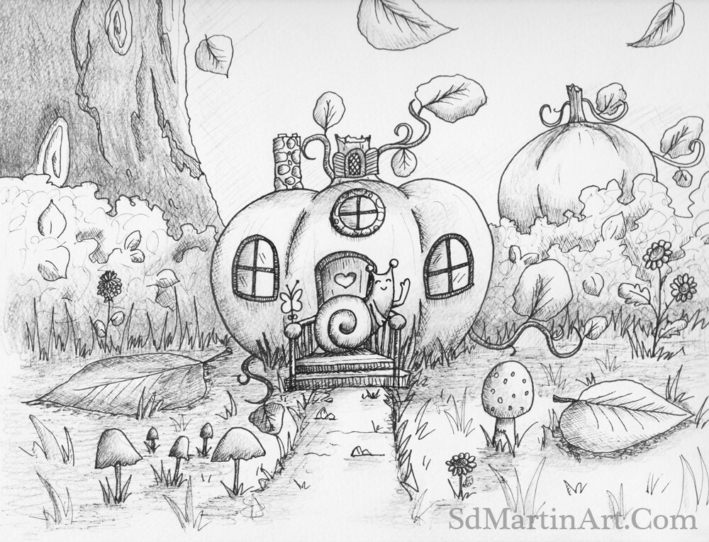 Day 1: A Happy Little Snail Living in a Pumpkin Cottage