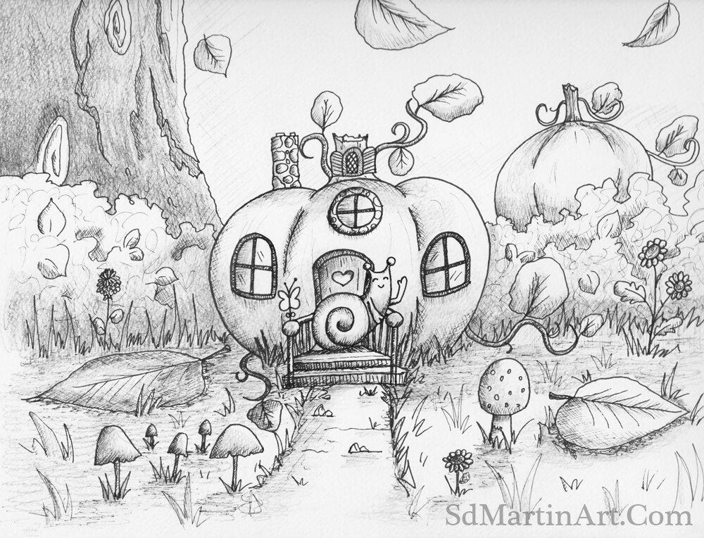 Inktober Day 1: Little Snail & Her Cozy Pumpkin Cottage