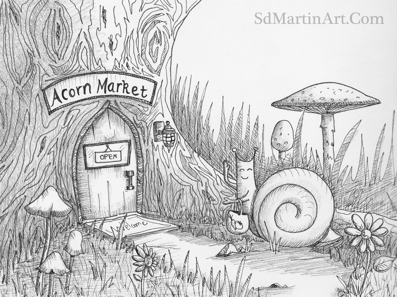 Inktober Day 7: Little Snail Visits the Market