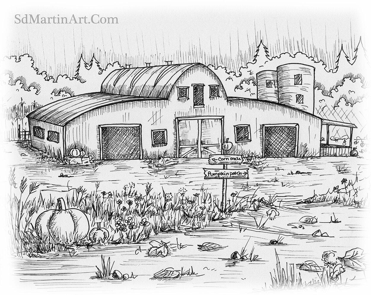 Inktober Day 15: Bob's Barn